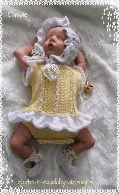 Baby /Reborn doll designer knitting pattern Romper suit,
