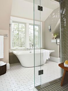 We love all the different tiles in this beautiful bathroom. More master bath ideas: http://www.bhg.com/bathroom/type/master/every-style-master-suites/?socsrc=bhgpin02032014inthemix&page=8
