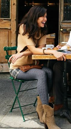 Love the concept of the grey cable tights paired w/ plaid shorts (or maybe that's a skirt!)...either way, cute!