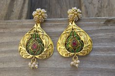 Gold Plated Paan Earrings !