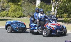 Can Am Spyder Trailers are perfect for travel with a pull behind motorcycle trailer. Can Am Spyders offer comfort, stability & safety while traveling. Pull Behind Motorcycle Trailer, Harley Davidson Trike, Can Am Spyder, Trike Motorcycle, Bike Life, Motorbikes, Touring, Dune Buggies, Canning