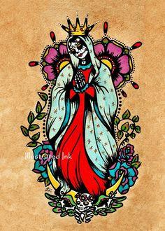 Día de muertos Virgen de Guadalupe inspirado en la vieja escuela tattoo diseño y arte popular mexicano. Ella en la foto en toda su Santa gracia,