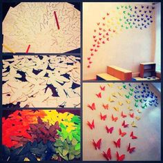 Decorate your kids room with these beautiful butterflies on your wall! #DIY #Decor...use diamond shapes