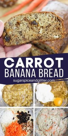 Tender banana bread with all of the flavors and mix-ins of carrot cake! This unique banana bread is the perfect option if you're craving carrot cake but don't have the time to make it, a quick bread recipe ready to bake in less than 10 minutes Quick Bread Recipes, Banana Bread Recipes, Yummy Recipes, Carrot Recipes, Broccoli Recipes, Tofu Recipes, Rib Recipes, Fudge Recipes, Steak Recipes
