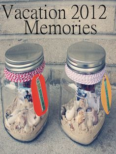 Going on vacation is the best. And to help keep the memories alive, try creating a Vacation Memory Jar. I spotted this darling idea from MJB Loves over at the M&T Spotlight. You could make one for every trip and. Beach Crafts, Summer Crafts, Summer Fun, Crafts For Kids, Seashell Crafts, Wine Cork Projects, Wine Cork Crafts, Art Projects, Vacation Memories