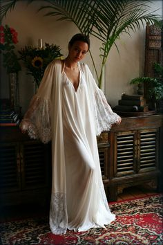 Satin Bridal Robe Lace Trimmed Angel Sleeve by SarafinaDreams