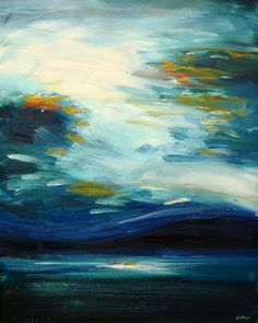 """Stormy Lake"" is a moody and richly textured original oil on canvas(20""x 16"") by Chicago Artist, Scott Fullmer."
