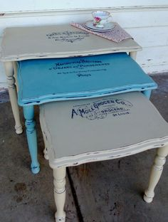 Beautiful Vintage French Typography Nest of Tables