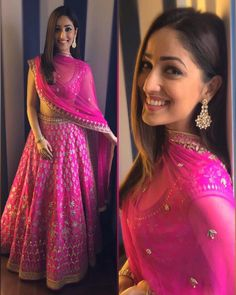 Create a smoldering impression on everyone with this hot pink yami gautam bollywood lehenga choli indian dresses. The attractive designs of embroidery enhanced with thread work, zari work along with patch border work enchants beauty Indian Lehenga, Silk Lehenga, Bridal Lehenga, Anarkali Lehenga, Bollywood Lehenga, Blue Lehenga, Bollywood Dress, Ghagra Choli, Sharara