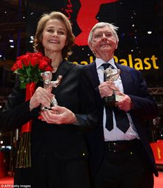 Winners: British actress Charlotte Rampling (L) and British actor Tom Courtenay pose with ...