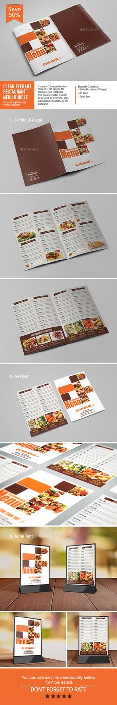 Clean Elegant Restaurant Menu Bundle - Food Menus Print Templates