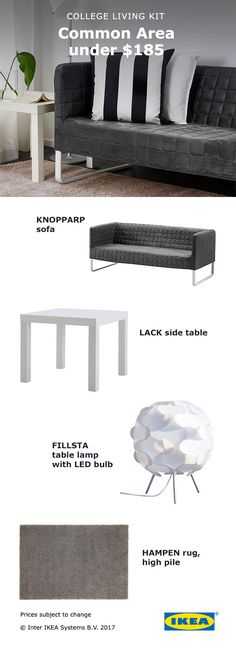 IKEA common area kits, as low as $185, help take the guesswork out of decorating and planning your college apartment or dorm!