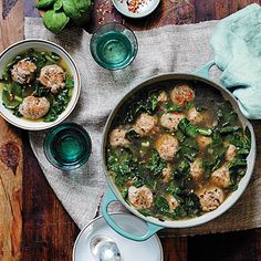 Turkey Meatball Soup with Greens