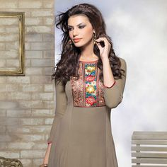Moss Green Faux Georgette Readymade #Tunic