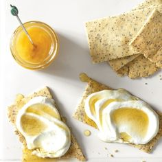 Almond-Poppy Crackers with Cottage Cheese and Honey  - Delish.com