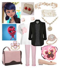 """Marinette Dupain-Cheng (Miraculous: Tales of Ladybug & Chat Noir)"" by getsherlock on Polyvore featuring Current/Elliott, Julien David, Pilot, Charlotte Olympia, Christopher Kane, Bellino, Miadora, Meira T, Amorium and Kenneth Jay Lane"