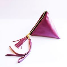 Fuchsia Gold Pyramid Leather Clutch // Pink by gmaloudesigns
