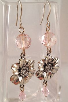 Pink German Crystal Dangle Earrings with by InspiredStylebyC $20 with free shipping to the 48 contiguous states