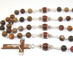 NEW Jasper Gemstone Rosary Sacred Heart Center Olive Wood