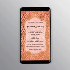 royal Invitation card with peach and gold. Any design wishes; Contact Us. Designer Swapnil- NIFT Alumni