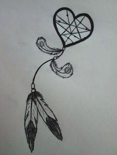 heart shaped dream catcher tattoo - Google Search