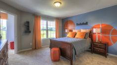 Basketball inspired boys room design by ShopGirl for Goodall Homes at Chateau Valley in Nashville, TN