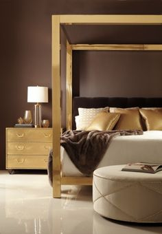 Bernhardt Interiors Brass Bed  Oh how I would love to have this bedroom! Talk about brass addiction! ~ C.N.