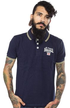 LONSDALE MORLEY POLO NAVY This classic slim fit polo shirt features yellow tipping on the cuffs and collar. It has a 3 button placket that is lined. It is finished off with an original Lonsdale London logo with union jack flag on the chest and a woven label on the lower right side.  $50.00 #lonsdale #guys #polo