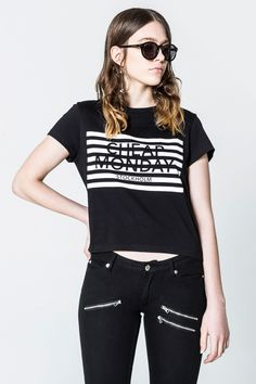Had Stripe Logo Tee  Slightly cropped tee in soft organic cotton with round neck, cap sleeves and signature striped logo front print. The classic logo in seasonal stripes, it really can't go wrong! Model is 175 cm tall and wears size S.