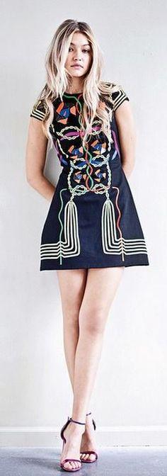 Gigi Hadid's black print dress