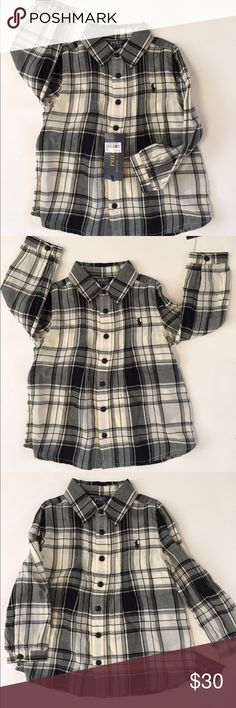 New w/tags POLO RALPH LAUREN TODDLER PLAID SHIRT New with tags POLO RALPH LAUREN Plaid button down shirt with buttons on sleeve. Back is pleaded in the back. Great with jeans or leggings Polo by Ralph Lauren Shirts & Tops Button Down Shirts