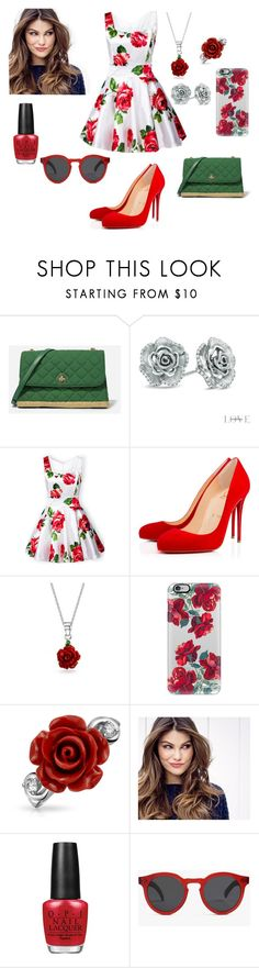 """""""Red roses"""" by juju-mari-pie ❤ liked on Polyvore featuring CHARLES & KEITH, Vera Wang, Christian Louboutin, Bling Jewelry, Casetify, ULTA, OPI and Illesteva"""