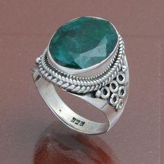 EMERALD 925 STERLING SILVER PRIME RING 7.59g DJR4049 #Handmade #Ring