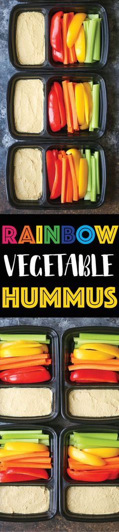 Rainbow Vegetable Hummus Box - Prep for the week ahead with these healthy, nutritious and filling boxes, loaded with fiber and protein! Only 158 calories!