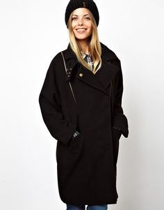ASOS Textured Zip Detail Oversized Coat