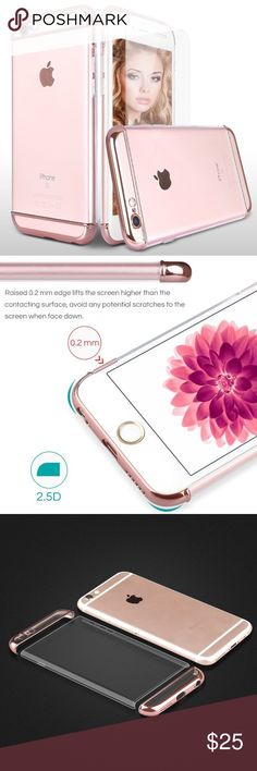 Electronics-iPhone 6/6s case w/ Screen Protector Hard Case. Shockproof and 360 Degree Full Body Protective. Comes with Premium Tempered Glass Screen Protector (Rose Gold). apple Accessories Phone Cases