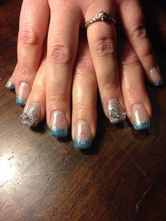 #GelNails #Glitter #SilverBows #Gelish #HardGel