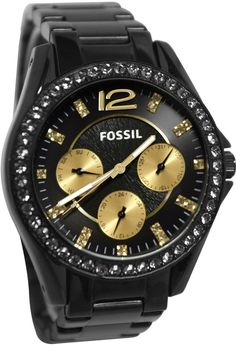 Fossil Women's ES3205 Black Stainless-Steel Analog Quartz Watch with Black Dial