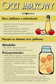 Ocet jabłkowy Raw Food Recipes, Diet Recipes, Healthy Recipes, Detox Juice Recipes, Nutrition, Slow Food, Fruit Smoothies, Health Diet, Fett