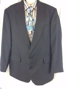 Haggar Clothing Co. Sport Coat 44 Black Pinstripe 2 Button Vented Mens Blazer #HaggarClothingCo #TwoButton
