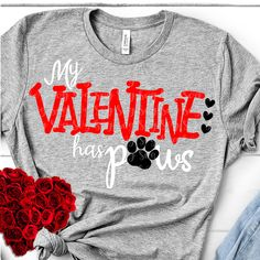 My Valentine paws TSHIRT This t-shirt is Made To Order, one by one printed so we can control the quality. Valentines Day Shirts, Valentine Day Gifts, Paws T Shirt, Valentine's Day, Couple Tshirts, Tee Shirt Designs, Direct To Garment Printer, Christmas Shirts, Shirt Style