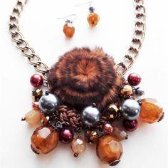 SASSY CHIC Chunky Brow Fur Cord Braid Mix Topaz Golden + Gray Pearl Necklace Set #Uniklookjewelry