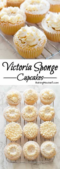 Adorable light and airy Victoria Sponge Cupcakes filled with raspberry jam and topped with buttercream frosting.