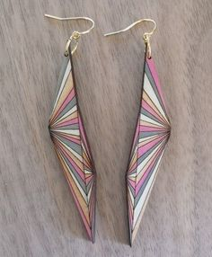 Optical Prism Earrings  Pink and Gray by HashAndCheeze on Etsy, $24.00