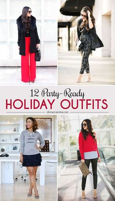 Whether you're going to  a casual ornament exchange or a swanky office party, these holiday outfits are as fierce as they are festive. #holidays #style