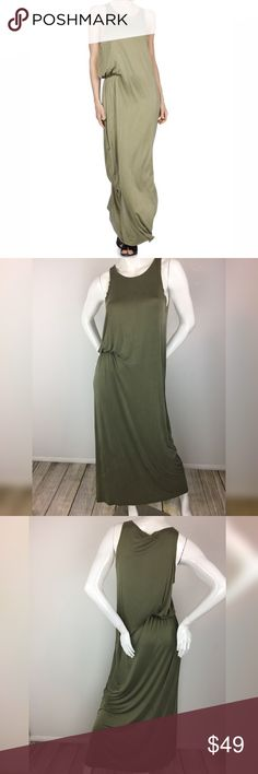 Diesel D-Akir Dress Military Green Maxi Dress Diesel D-AKIR Dress. Long maxi dress is super soft and has an internal band at the waist for the one sided gathered look. Color is military green. Size is small. Made of 92% Cupro, 8% Elastane/Lycra. Diesel Dresses Maxi