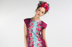 Wild rose   multicolor jersey tunic dress by ZIBtextile on Etsy, $60.00
