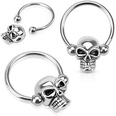 Nipple Ring Skull Bead 316L Surgical Steel Captive Bead Ring ($2.99) ❤ liked on Polyvore featuring jewelry, rings, bead jewellery, beading rings, skull jewellery, beaded jewelry and beaded rings