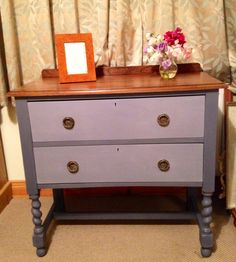 Antique chest of drawers/ hall table in Annie Sloan Old Violet, restored. £70