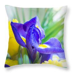 Spring Iris Throw Pillow by Yana Reint #YanaReint #YanaReintFineArtPhotography #FineArt #pillow #duvetcover #homedecor #ArtForHome #Iris #flowers